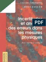 Incertitudes Et Analyse Des Erreurs Dans Les Mesures Physiques - J. Taylor - Dunod