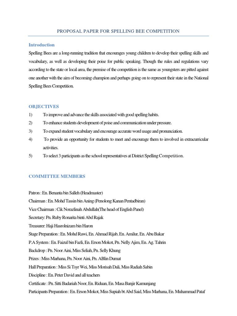 Proposal paper for spelling bee competition english language proposal paper for spelling bee competition english language psychology cognitive science stopboris Gallery