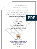 Project Report on Financial Statement Analysis