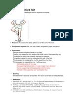 Stork Balance Stand Test Protocol