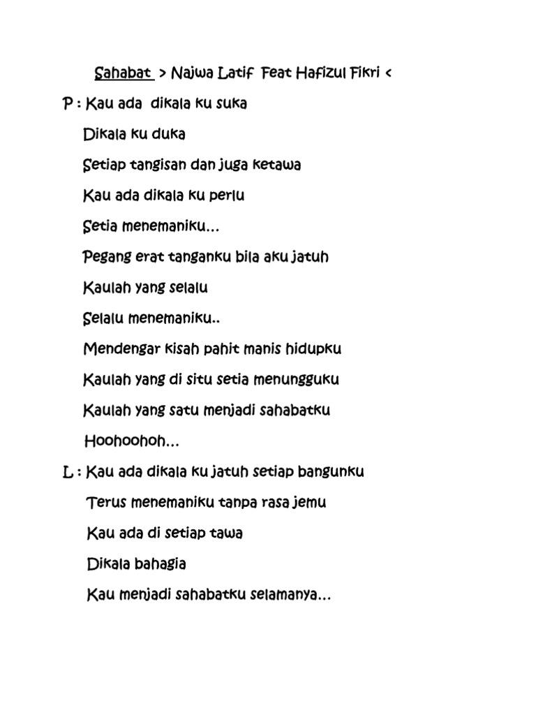 Latif lirik najwa sahabat