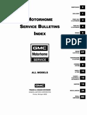 GMC MOTORHOME SERVICE BULLETINS | Suspension (Vehicle) | Refrigerator