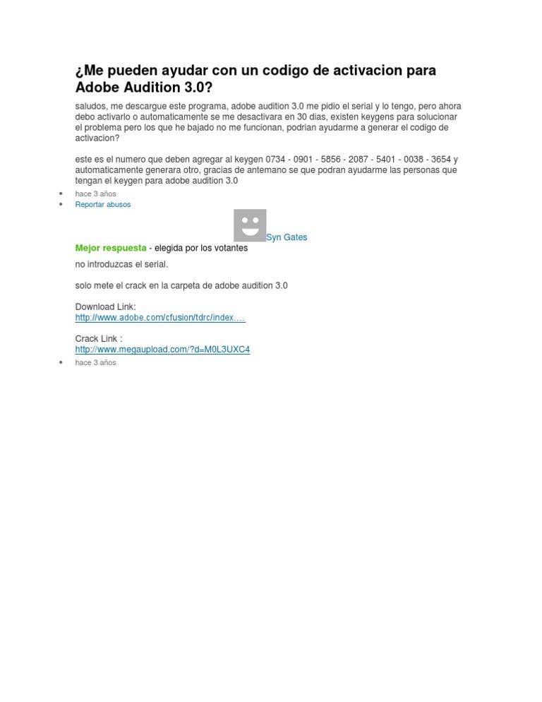 Me Pueden Ayudar Con Un Codigo de Activacion Para Adobe Audition 3