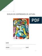 GUIA NIVELES DE COMPRENSIÓN DE LECTURA