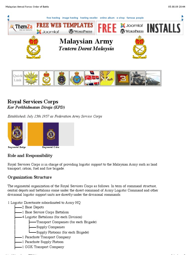 Malaysian Armed Forces Order of Battle Logistics pdf | Battalion