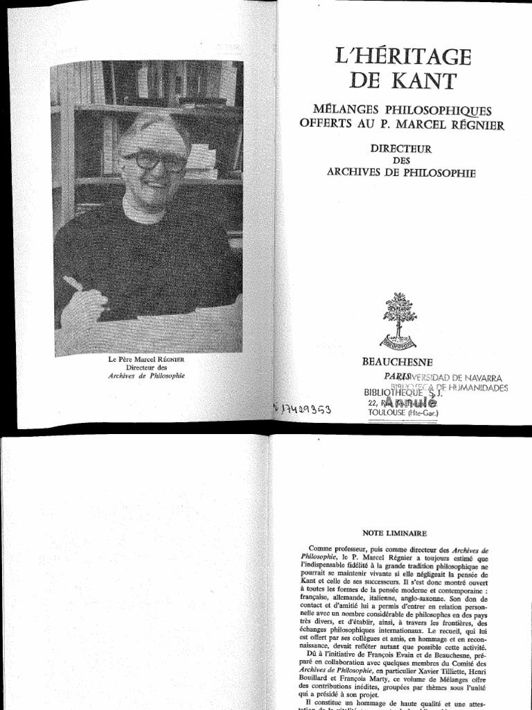 20 Tilliette Ed L'heritage de Kant   PDF   Absolu ...