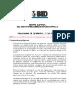 BID Bases Programa de Desarrollo Cultural 2012