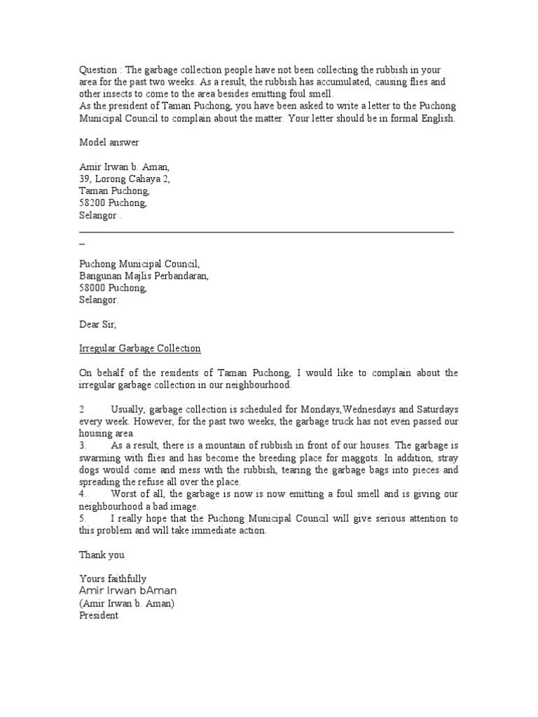 Letter Of Complaint Garbage