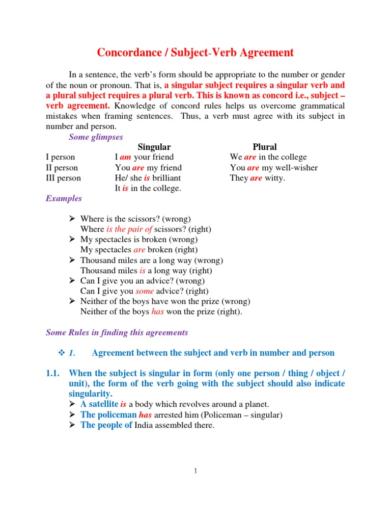 Concordance Or Agreement Grammatical Number Plural