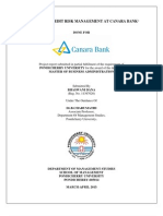 A Study on Credit Risk Management at Canara Bank