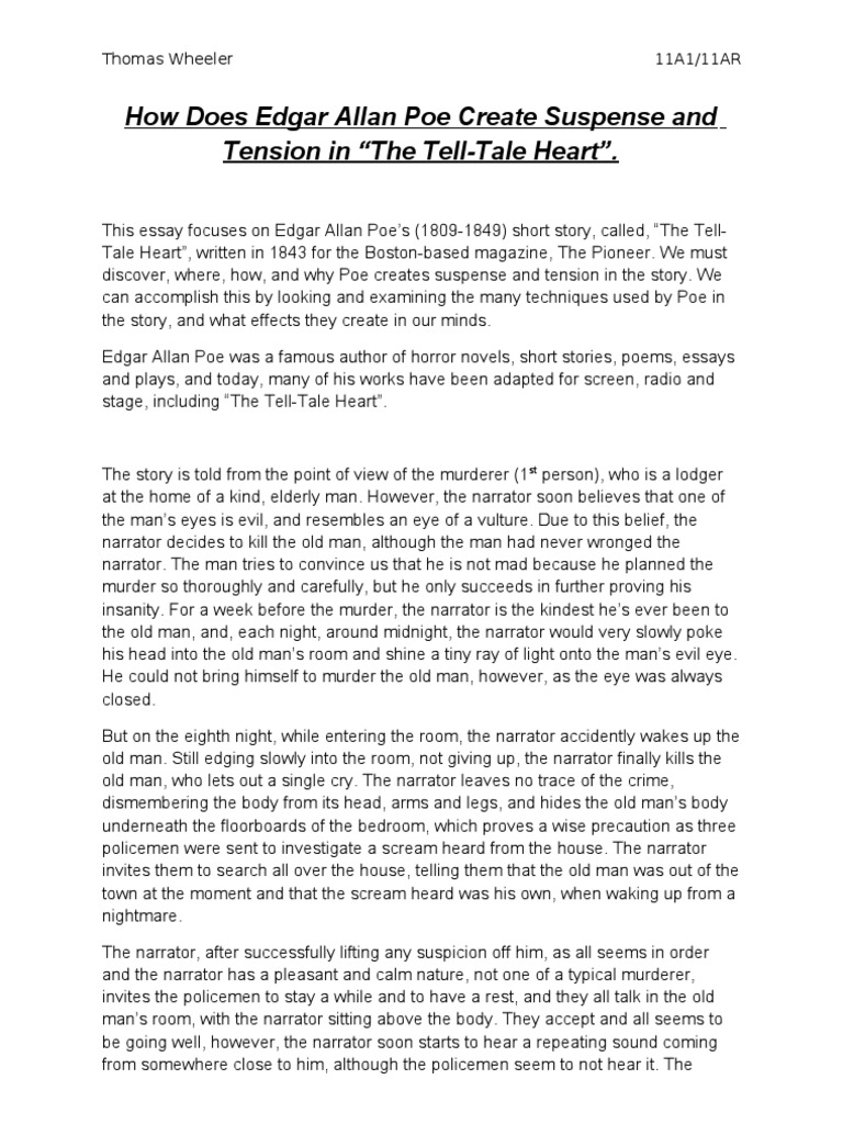 essay for the tell tale heart Edgar allan poe is a 19th-century master of the short story and pioneering author of both the modern detective story and the horror story director alfred hitchcock cited poe's work as the inspiration for his desire to make horror films although the tell-tale heart was rejected the first time poe.