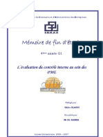Evaluation du contrôle interne au sein des PME