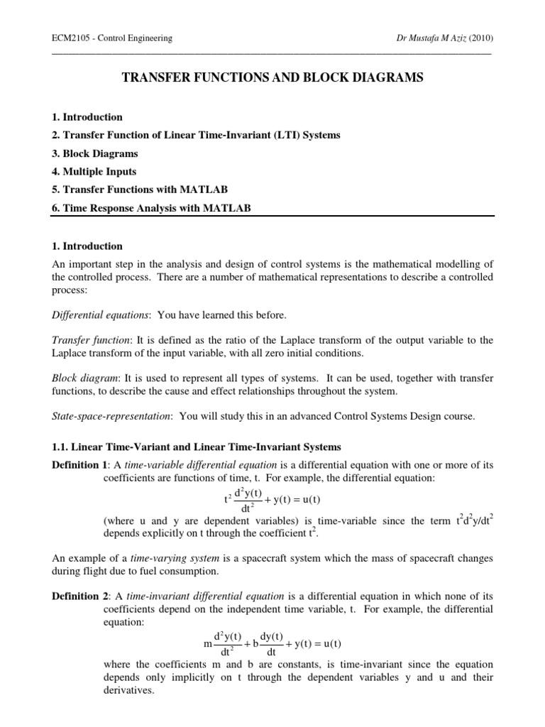 Transfer Functions And Block Diagrams Pdf