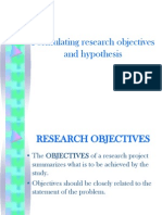 Formulating Research Hypothesis and Objectives