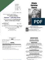 April 7, 2013 Church Bulletin
