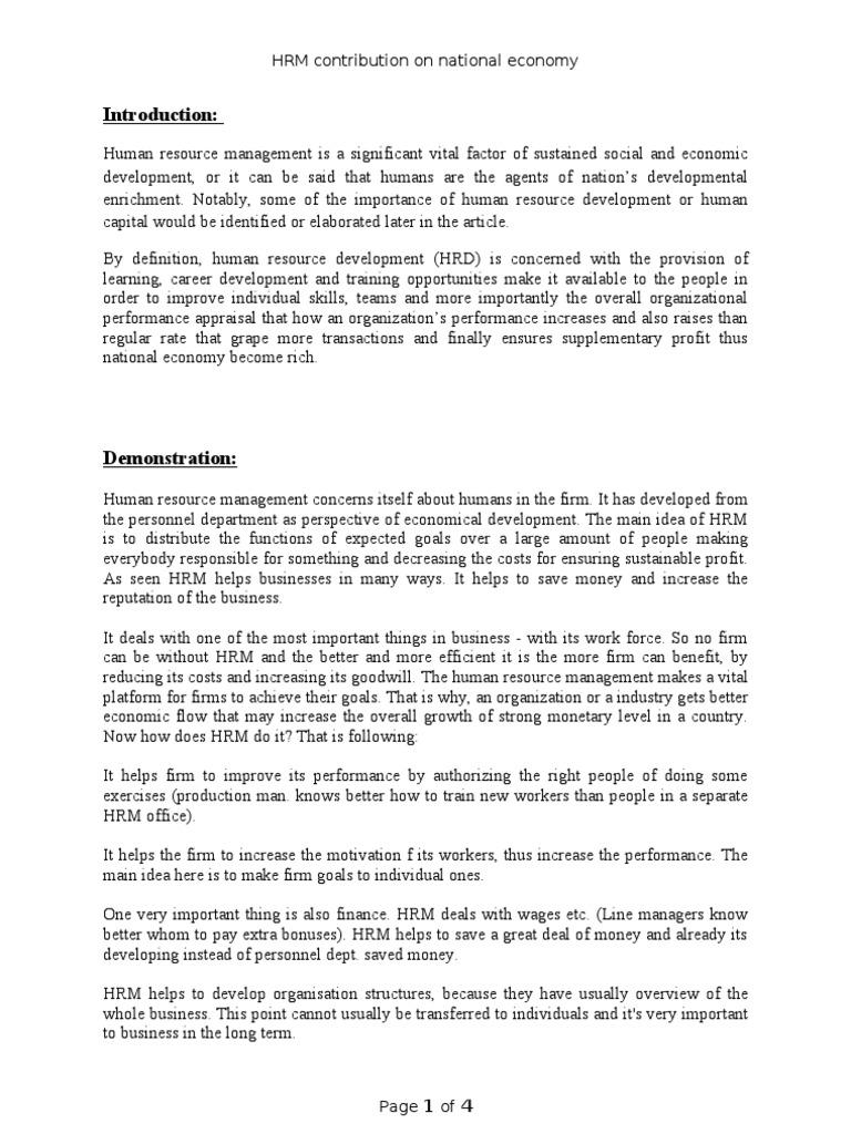 Hrm Contributon On National Economy Purpose On Bangladesh Human