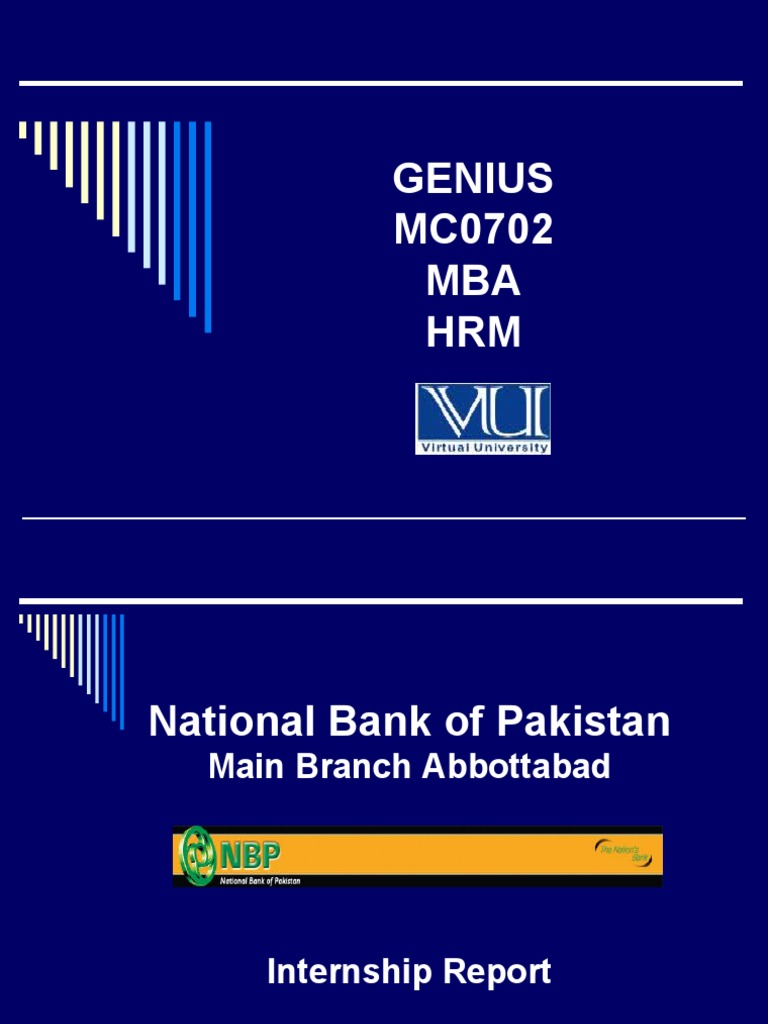 National Bank Internship Report for VU - www noumanali com | Human