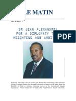 Jean C Alexandre, Diplomacy