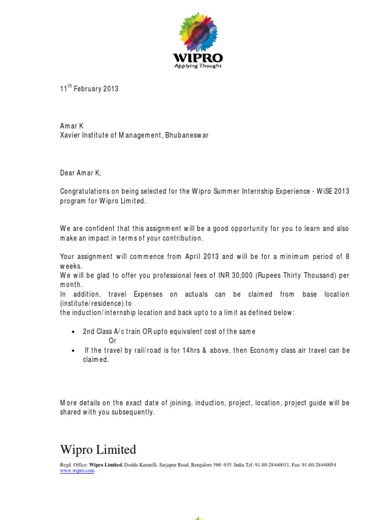 Wipro offer letter business economics spiritdancerdesigns Image collections