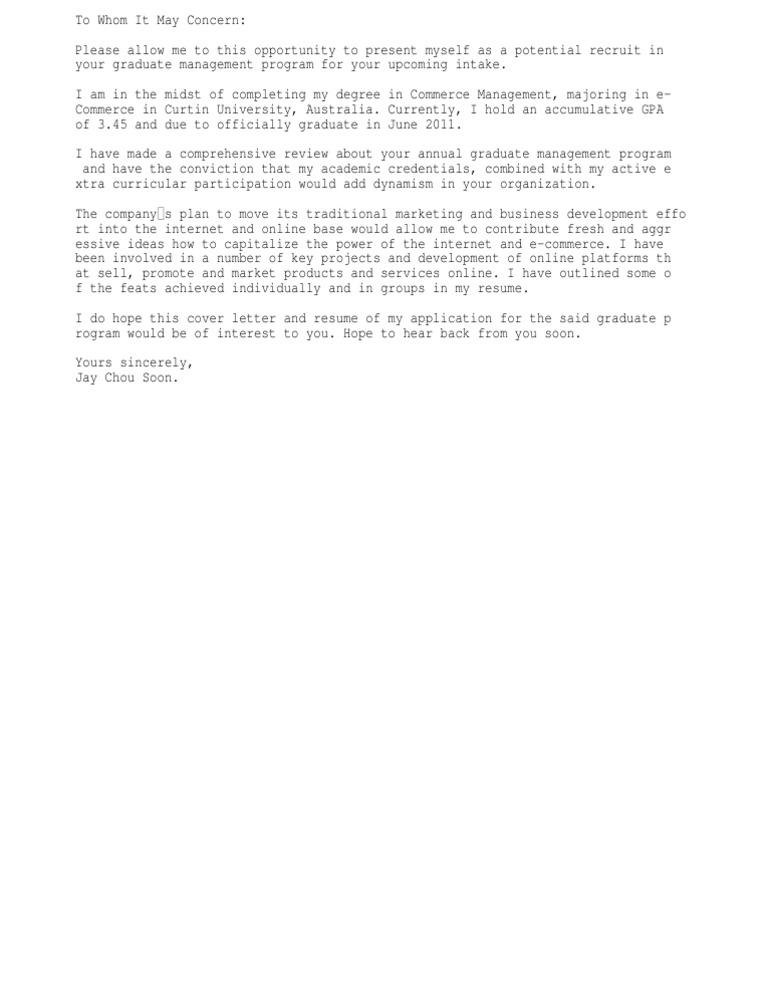 cover letter sample for fresh graduate