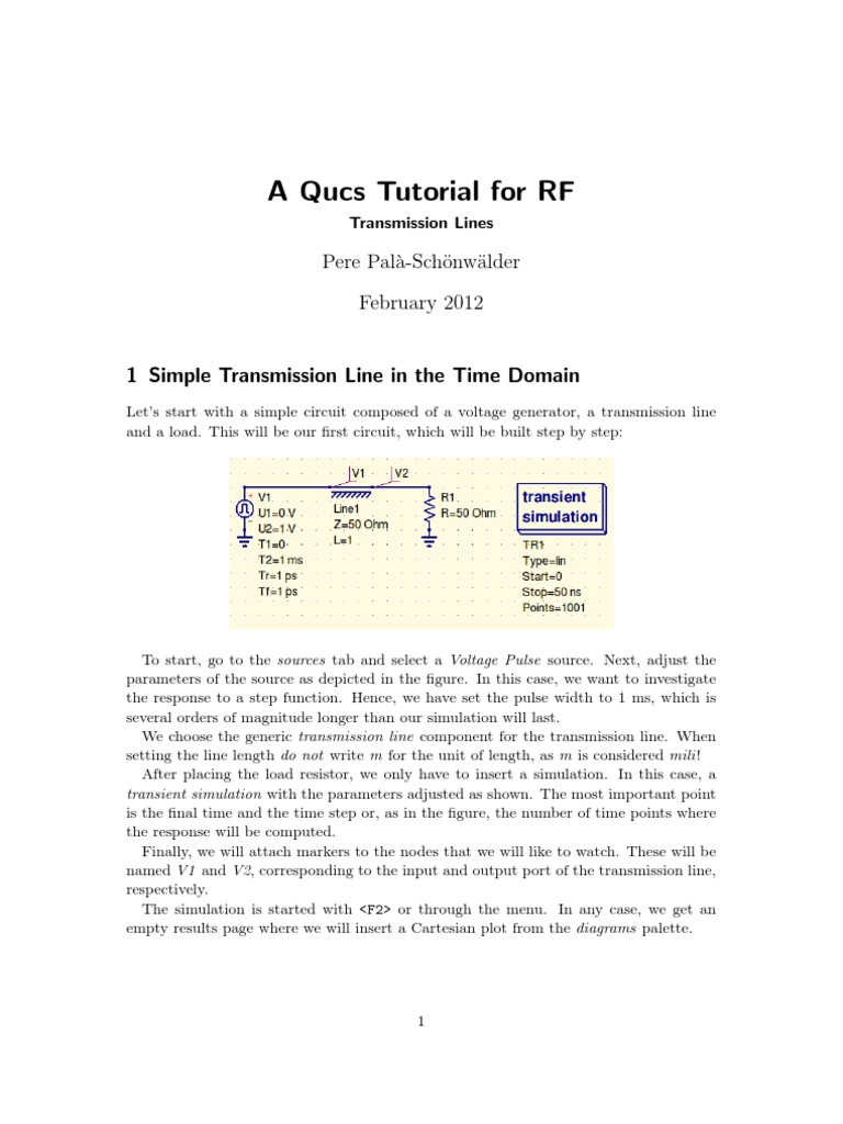 Tutorial de Qucs Per Rf | Electrical Impedance