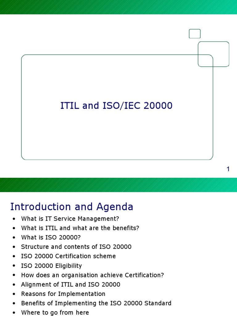 Itil And Iso 20000 Itil It Service Management