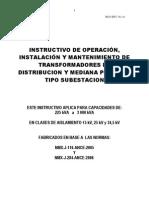 (Manual de Instalación Operación y Mantenimiento TR's Subestación)