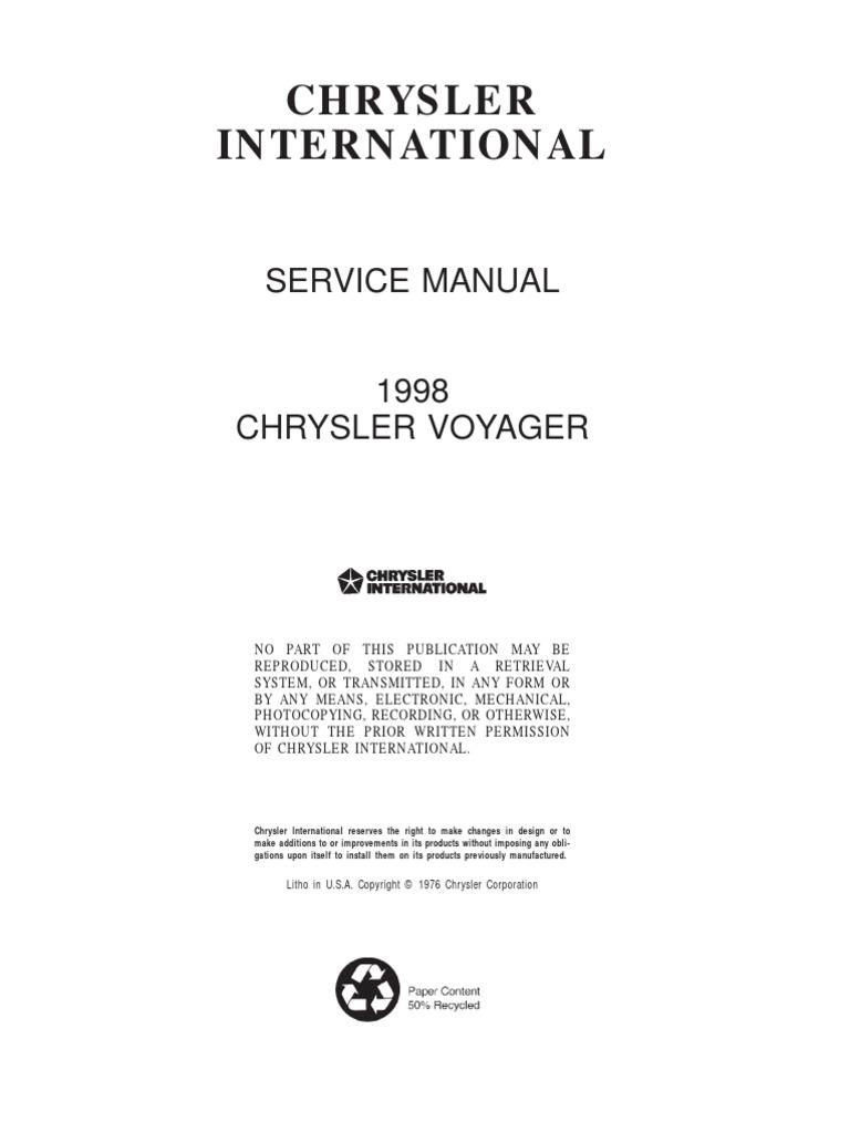 Workshop manual chrysler grand voyager