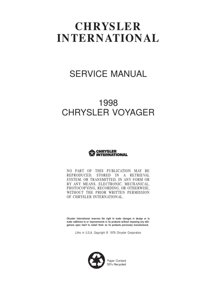 Chrysler Voyager Service Manual 2001 Range Rover 4 6 Fuse Box Diagram