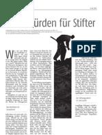 Die Zeit – 14.09.2007 - Hohe Hürden für Stifter