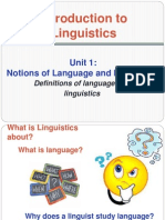 Notions of Language and Linguistics