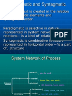 Paradigmatic and Syntagmatic Relation