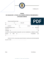 Formular 1 Cerere Comunicare Stadiu Solutionare Cerere de Redobandire a Cetateniei Romane