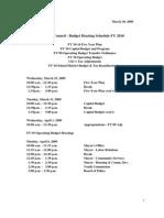2010 Budget Hearing Schedule