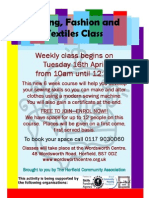 Sewing, fashion and textiles class for adults at the Wordsworth Centre