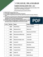 Ali Trust College, Islamabad Result 2013