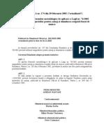 H.G. 174-2002 - Pentru Aprobarea Normelor Metodologice de Aplicare a Legii Nr. 76-2002