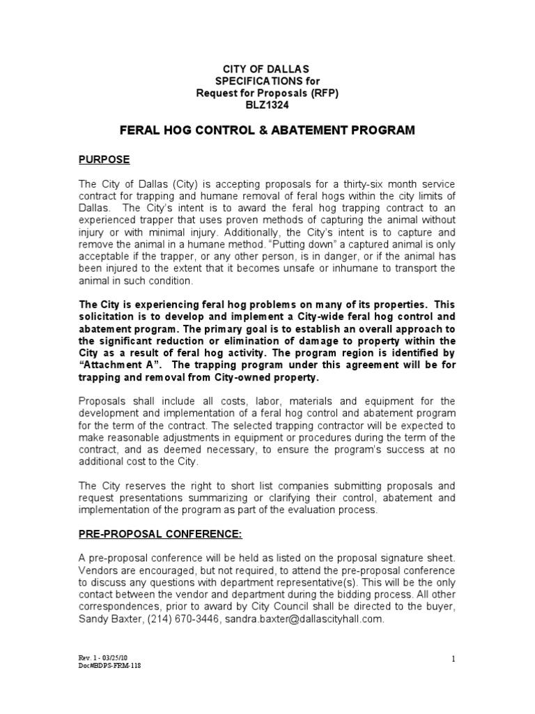 Dallas Feral Hogs RFP | Request For Proposal | Invoice