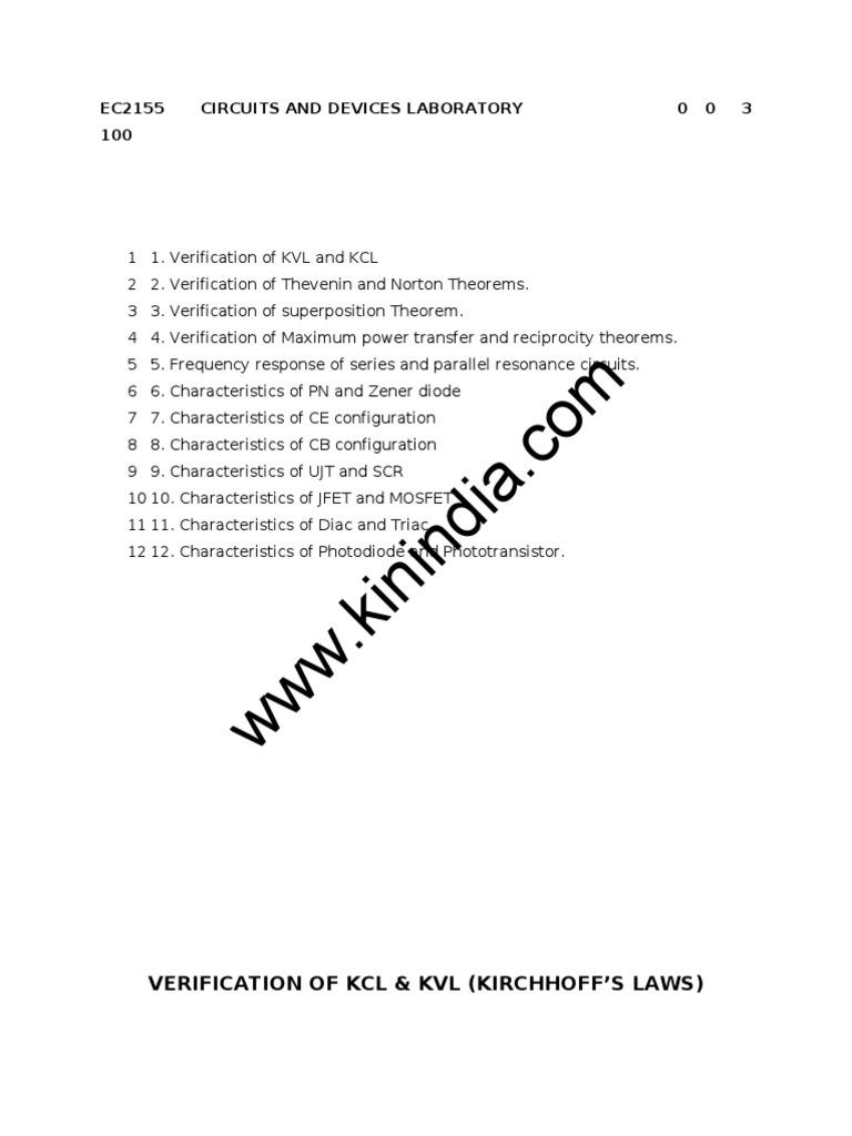 Ec2155 Lab Manual Series And Parallel Circuits Voltage Circuit Diagram Zener Diode Characteristics