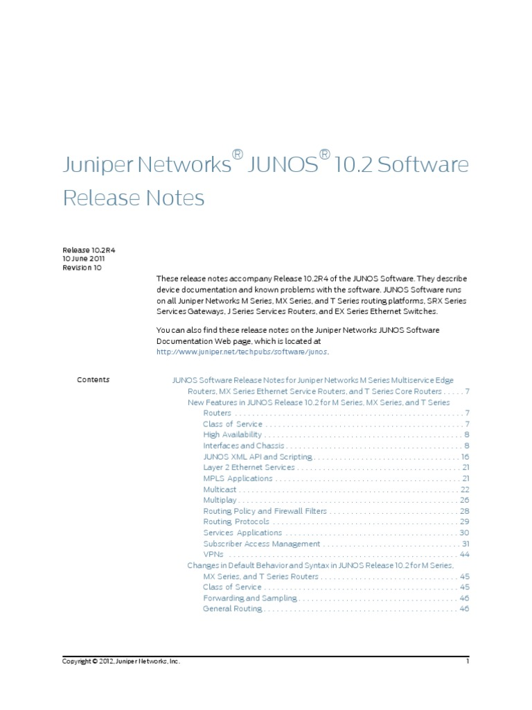 Junos Release Notes 10 2 | Router (Computing) | Computer Network