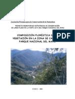 Composicion Floristica de La Vegetacion en La Zona de Callanga, Parque Nacional Del Manu