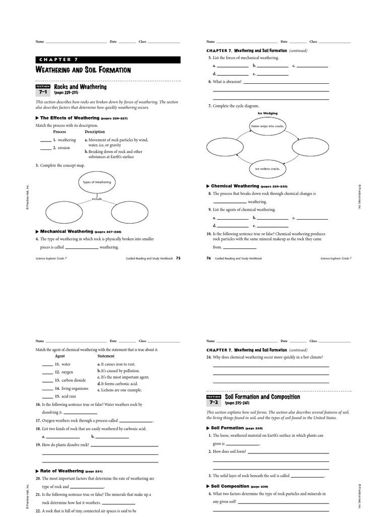 Weathering And Soil Formation Worksheet Worksheets For School ...