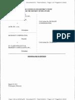 St. Clair Intellectual Property Consultants, Inc. v. Acer, Inc., et al., Consol. C.A. No. 09-354-LPS (D. Del. Mar. 29, 2013).