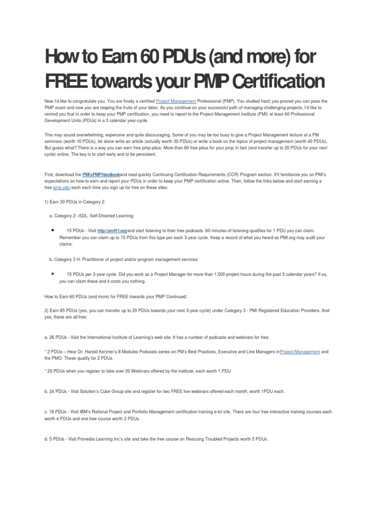 How to earn 60 pdus project management professional business 1betcityfo Images