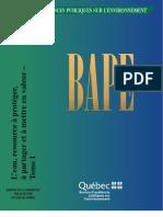 Rapport du bape sur la gestion de l'eau au Québec