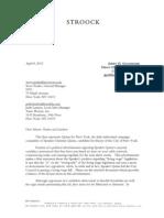2013-04-08 Christine Quinn NY1 Stroock Threatening Letter