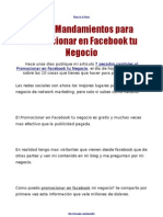 Promocionar en Facebook - Los 10 Mandamientos (estrategias efectivas)