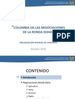 Colombia en Las Negociaciones de La Ronda Doha