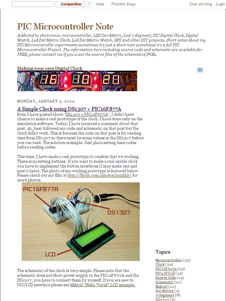 A Simple Clock Using Ds1307 Pic16f877a Pic Microcontroller Note Digital 8051 And Lcd Display Mini Manufactured Goods Electronics