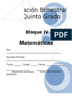 Plan - 5to Grado - Bloque IV - Matemáticas